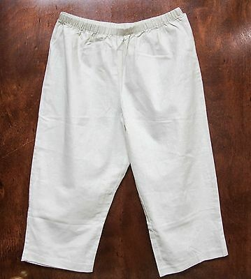 New Womens Plus Size Straight Leg Capris Cropped Linen Pants 3X
