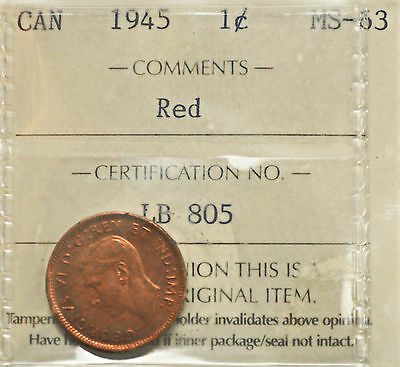 1945 Canada One Cent ICCS graded MS-63
