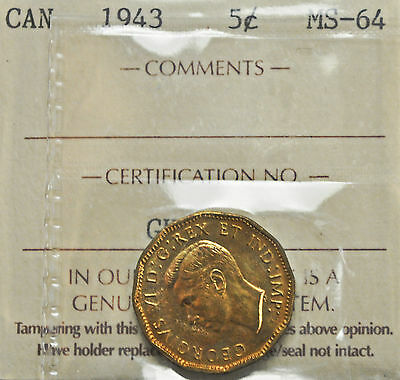 1943 Canada 5 cent Tombac ICCS graded MS-64