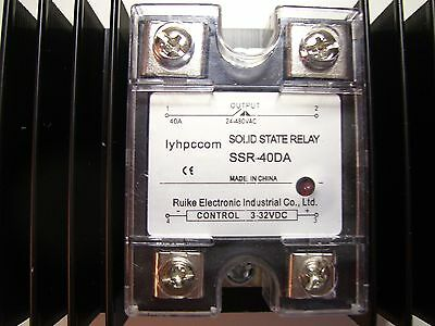 SSR-40DA SOLID STATE RELAY WITH LARGE HEAT SINK control 3-32VDC, output 24-480VA
