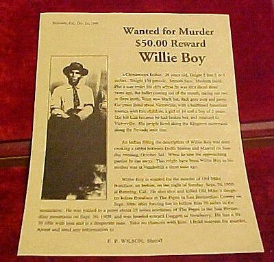 Riverside Sheriff Willie Boy Wanted Poster