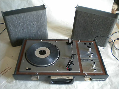 stunning 1960s HiFiVox Stereo portable record player with stacker two tone grey