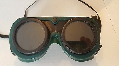 Vintage Sears Craftsman Green & Black Welding Goggles / Steampunk