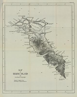 1897  US Gov Map of Bering Island and Copper Island--2 items