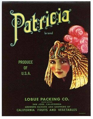 PATRICIA Vintage San Jose Crate Label **AN ORIGINAL LABEL** Claudette Colbert