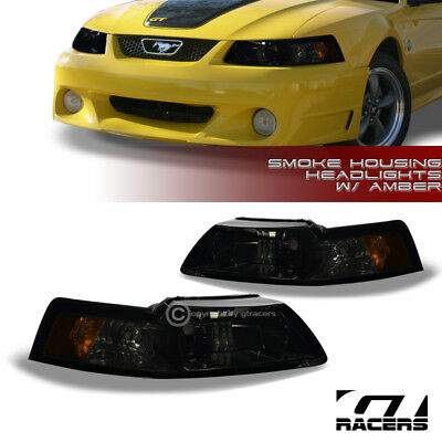 For 1999-2004 Ford Mustang Oe Smoke Housing Headlights Signal Lamp Amber Pair Nb