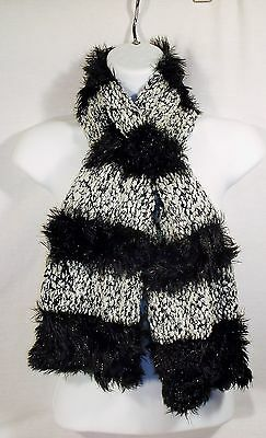 Magic Scarf *NEW* Black White Convertible Hood Stole Wrap Head Cover Neck Fuzzy