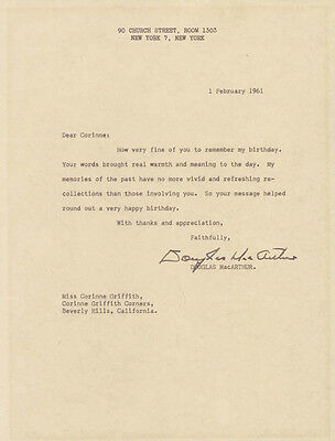 Douglas Macarthur - Typed Letter Signed 02/01/1961