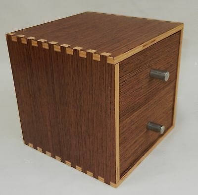 Small Dovetailed Two Drawer Wooden Box by FINLAND Showroom