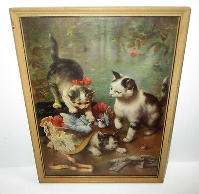 Antique C. Reichert Mischievious Kittens Lithograph Victorian Cat Print Framed