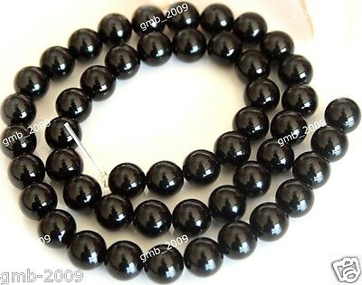 "6mm Genuine Natural Black Agate Smooth Round Gemstone Loose Beads 15""AA"