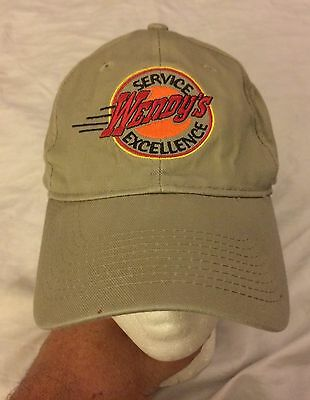Wendy's Service Excellence Way of Life Khaki Cap Hat Fast Food Adjustable VGUC