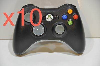 Lot of 10 Official Genuine OEM Microsoft xbox 360 Wireless Controller Black