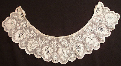 ANTIQUE LACE 19TH c. FRENCH WHITEWORK  NEEDLEWORK COLLAR