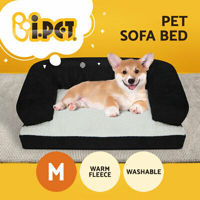 iPET Deluxe Couch Pet Bed Bolster Soft Dog Cat Sofa Warm Cushion Fleece Medium