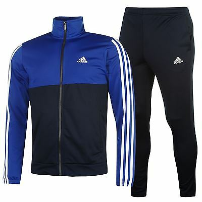 adidas Mens 3S Basic Poly Tracksuit Stripe Sports Jacket Trousers Pants Bottoms