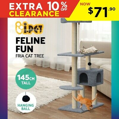 Cat Scratching Tree Post Scratcher Pole Furniture House Toy Carpeting Grey 145CM