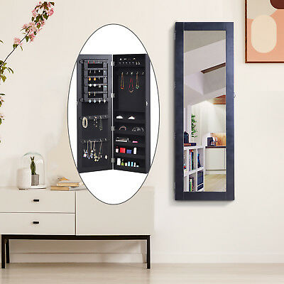 Mirrored Jewelry Cabinet Armoire Hanging Wall Mount Storage Organizer Lock Black