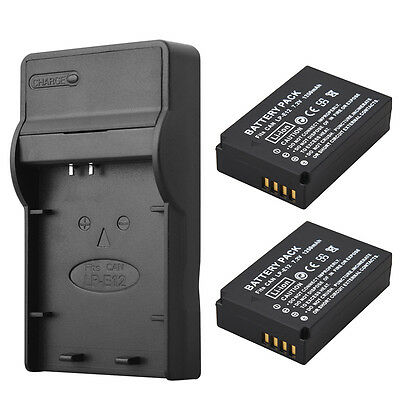 2 x 1250mAh LP-E12 Camera Battery + Charger For Canon EOS 100D Kiss X7 Rebel SL1