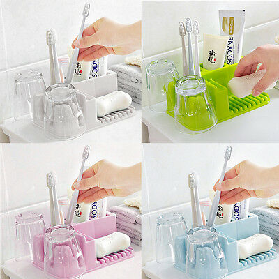 Bathroom Soap Rack Organizer Holder Stand Set 2 Cups+1 Toothpaste +4 Toothbrush