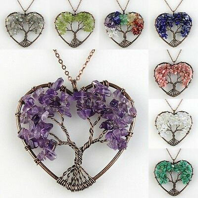 Natural Amethyst Peridot Rose Quartz Tree of Life Chakra Heart Pendant Necklace