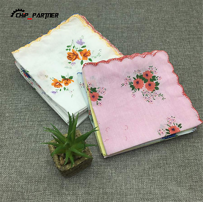 5-20PCS Cotton Handkerchief Ladies Crescent Edge Classic Retro Handkerchiefs Lot