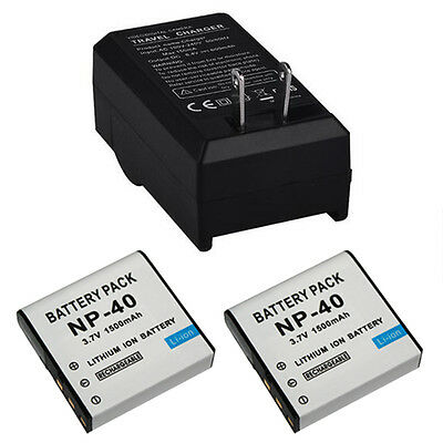 2x NP-40 Battery + Charger For Casio EX-Z30/Z40/Z50/Z55/Z57/Z750 EX-P505 PM200