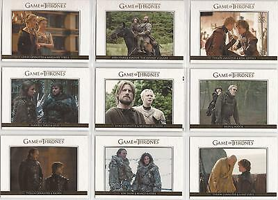 "Game of Thrones Season 3: ""Relationships"" 20 Card GOLD Parallel Chase Set DL1-20"