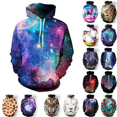 Women Men Galaxy Space 3DPrint Jumper Sweatshirt Hooded Hoodie Pullover Outwear@