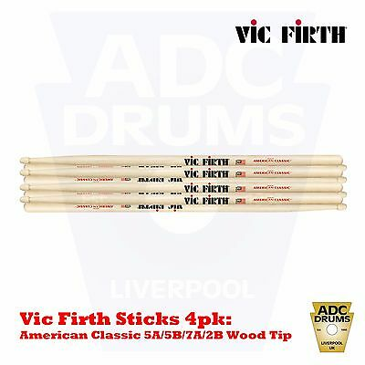 Vic Firth American Classic Hickory Wood Tip DrumSticks 4 Pack: 5A/5B/7A/2B