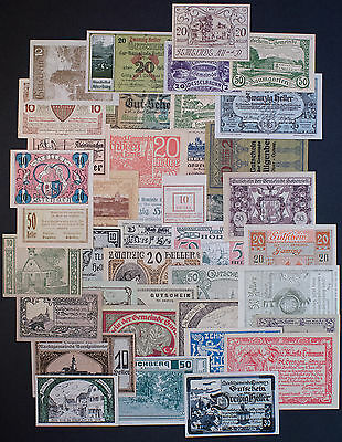 20 different towns Austria notgeld 1918-21 paper money most Au-Unc.