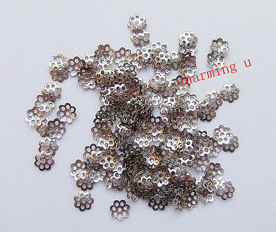 100pz coppette 6mm colore argento scuro X 8-14mm perline