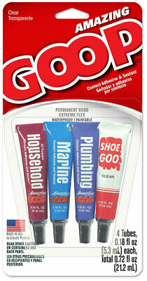 AMAZING GOOP Mini Multi Pack 4 .18oz Tubes Household, Marine, Plumbing, Shoe Goo