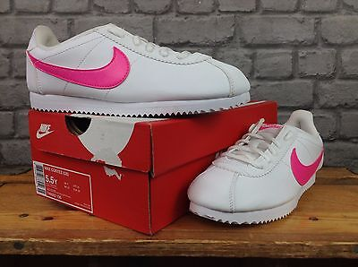 Nike Uk 3,5,5.5 White Leather Pink Swoosh Cortez Trainers Childrens Ladies Girls