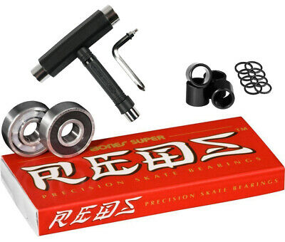 Bones Skateboard Bearings SUPER REDS with Spacers/Washers and T-Tool