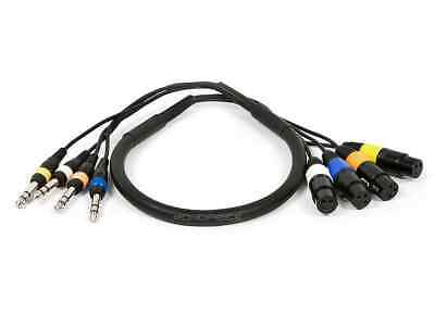 Monoprice 4-Channel TRS Male to XLR Female Snake Cable Cord - 3ft - Black