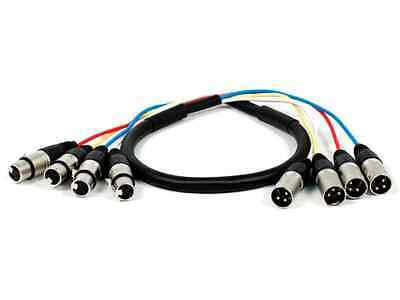 Monoprice 4-Channel XLR Male to XLR Female Snake Cable Cord - 3ft - Black/Silver