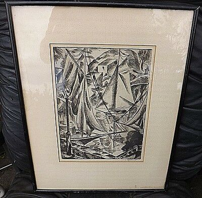 "1924 Wpa Listed Artist Emil Ganso Signed Etching  ""Sailboats"" Excellent Cond"
