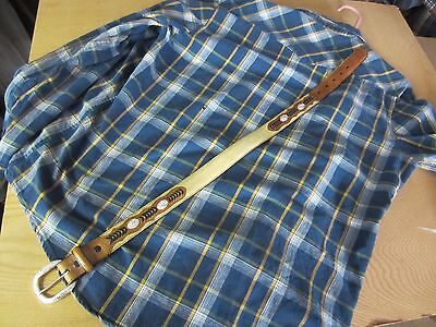 NOCONA Concho brown/tan cream Leather stitched WESTERN BELT Sz 24 kids boy girl