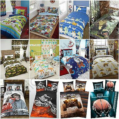 Boys Single Duvet Cover Set - Army, Dinosaurs, Diggers, Pirates, Football