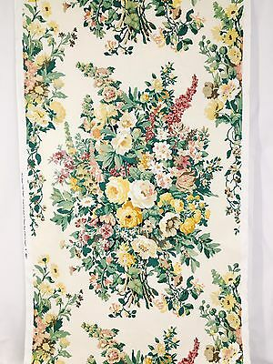 Vtg Clarence House Cotton Linen Fabric 1993 Hand Blocked Printed Bouquet 10 Yds