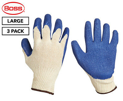 Boss Large FlexiGrip Latex Palm Knitted Work Gloves 3-Pack - Blue/Cream