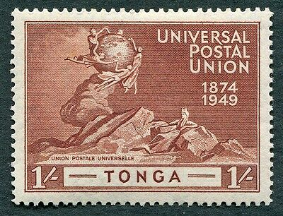 TONGA 1949 1s red-brown SG91 mint MH FG UPU Anniversary Omnibus Issue #W24