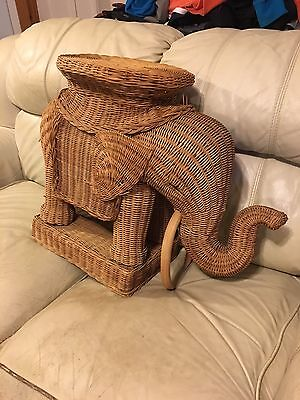 Wicker Elephant Woven Side Table, Tray, Plant Stand