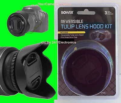 To CAMERA NIKON COOLPIX P900 :BOWER REVERSIBLE TULIP FLOWER HOOD+LENS CAP+HOLDER