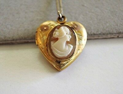 """Vintage 1930s HEART LOCKET with Shell Cameo Embossed Flowers 16"""" Yellow GF Chain"""
