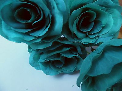 6 x teal green FAUX SILK ROSE FLOWERS (NOT FOAM)BRIDAL/CRAFT/BUTTONHOLES/BOUQUET