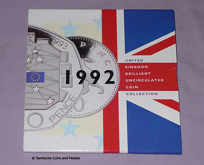 1992 ROYAL MINT BRILLIANT UNCIRCULATED SET COINS - With Duel-Dated EEC 50p