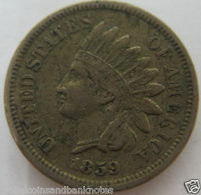 US - 1859  ' Indian Chief Head' 1 Cent Coin