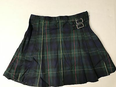 LANDS END Little Girl's Evergreen/Classic Navy Plaid Side Buckle Skirt Sz 7 NEW